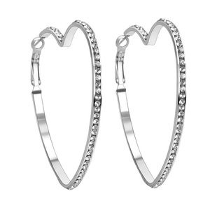 EUC Sterling Silver Heart Shaped Hoop Earrings